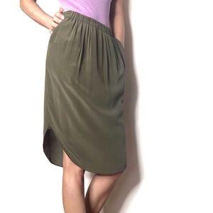 Madewell Island Skirt green silk tulip midi skirt